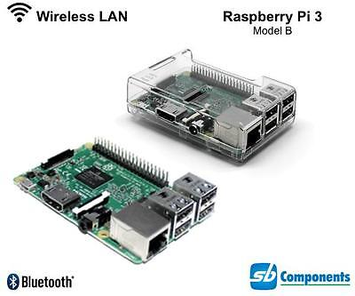 RASPBERRY Pi 3 - 1.2GHz Quad Core 64Bit 1GB RAM (2016 Model) with Clear Case