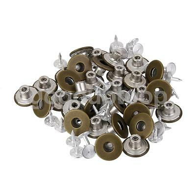 50 x Snaps Fastener Rivets Buttons Studs Hammer On For Jeans Repair Replacement