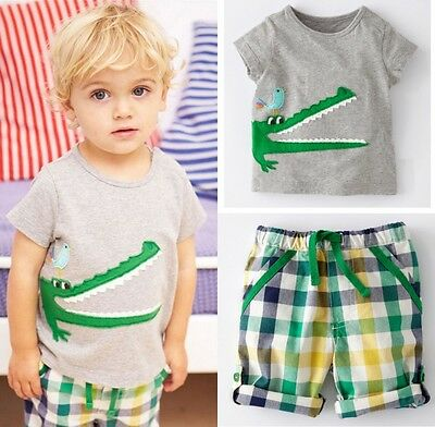 Cartoon Baby Kids Boys Clothes Crocodile T-shirt +Pants Summer Outfits 1-7Y