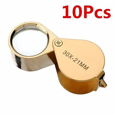 Jewelers Eye Lens Loupe Magnifier Magnifying Glass Jewelry Diamond 30x21mm Gold
