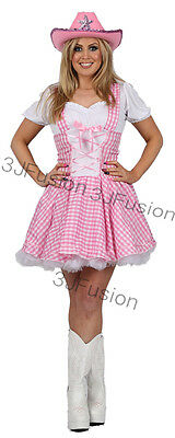 PINK COWGIRL FANCY DRESS COSTUME Dolly Parton Country Girl FREE POST (BB)