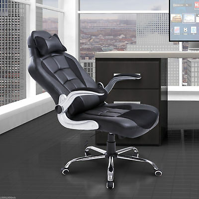 HOMCOM PU Racing Adjustable Office Chair Recliner High Back Swivel Seat Black