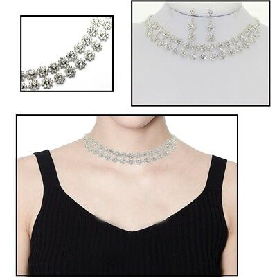 Rhinestone Diamante Necklace Earrings Set Bridal Wedding Party Jewelry Crystal 5