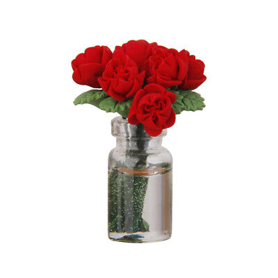 1/12 Miniature Red Rose in Glass Vase Dolls House Flowers Ornament Accessory