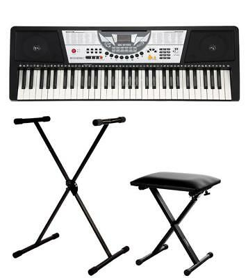 Electronic Keyboard Digital Piano Set 61 Keys 100 Sounds Support Bench Lcd Black