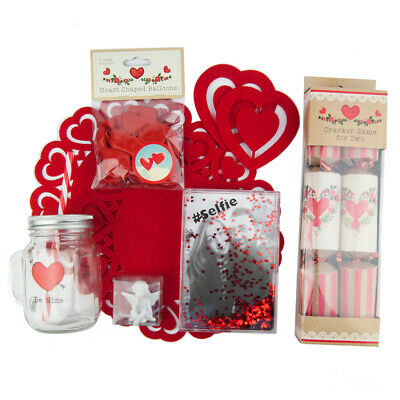 Valentines Day Romantic Lovers Meal for 2 Tableware Decor Couples Gifts Balloons