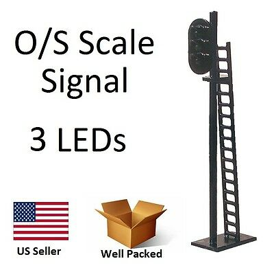 1 New O or S Scale Model Railroad 3 LED Train Signal Traffic Crossing