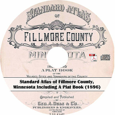 1896 Atlas & Plat Book of Fillmore County, Minnesota - MN History Maps on CD