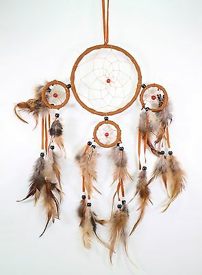 Orange Handmade Dream Catcher With Feathers Wall Hanging Decoration Gift