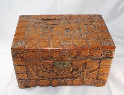 Vintage Chinese Deep Carved People Men Wooden Large Jewelry Trinket Box