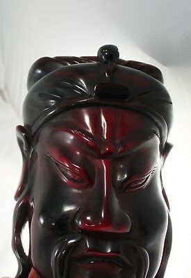 Vtg Red Hard Plastic Glass Chinese Face Mask Oriental Wall Decor Paperweight