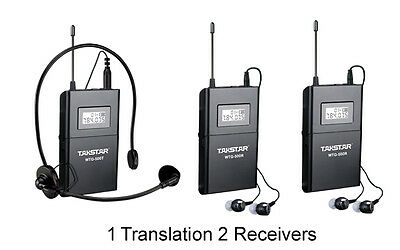 Takstar WTG-500 Tour Guide Teaching UHF Wireless System 1 Transmitter 2 Receiver