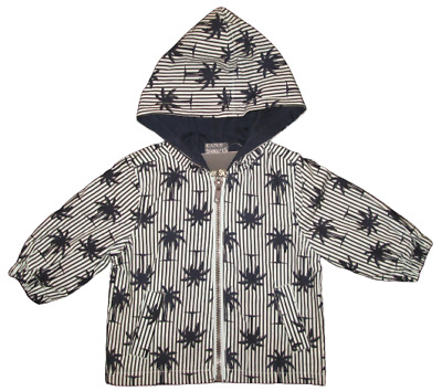 Baby Boys Raincoat Jacket Infant Candy Stripes Navy Blue Size 00, 0, NEW