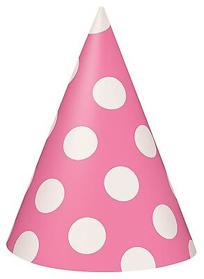 Hot Pink and White Polka Dot Cone Party Hats | Favour 1-48pk