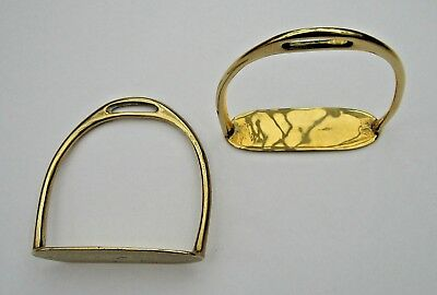 Pair of solid cast brass stirrup irons for a medium size or large rocking horse