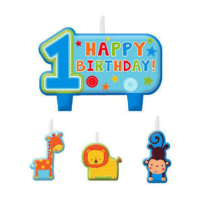 One Wild Boy 1st Birthday Party Supplies Decorations CANDLE Set Of 4