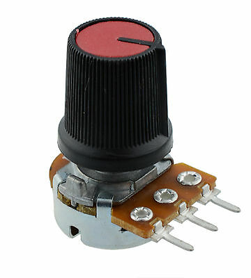 1K Log Logarithmic Potentiometer Pot with Red Knob -;