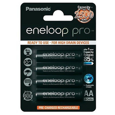 4x Panasonic Eneloop Pro AA Rechargeable LSD NiMH Batteries - JAPAN MADE