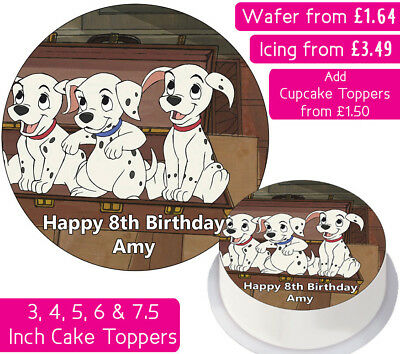101 Dalmatians Edible Wafer & Icing Personalised Cake Toppers Birthday Party Dog