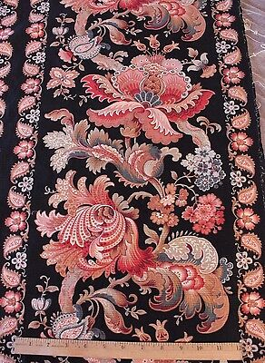 """Antique French Napoleon III Indienne/Jacobean Curtain Panel~2 yds 5""""L X 31""""W"""