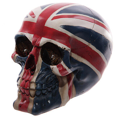 Gruesome Union Jack Skull_ Horror Prop_Halloween_Paperweight__Ornament_UK Seller