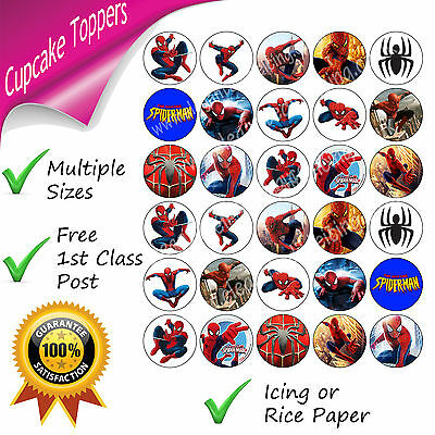 Spiderman Party Cupcake Toppers Edible Printed Spider-Man Birthday Cupcakes