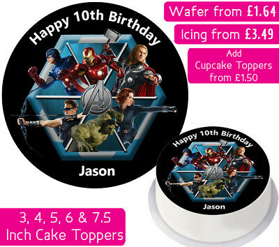 Avengers Team Edible Wafer & Icing Personalised Cake Toppers Decoration Birthday