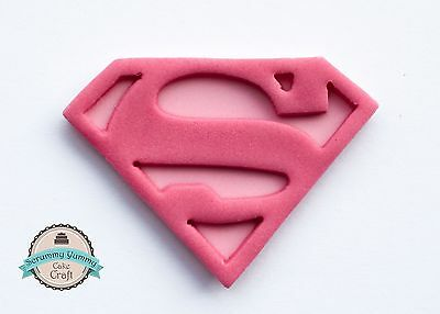 Supermum supergirl logo cake cupcake topper sugar decoration handmade edible