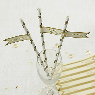 Pk 30 MESSAGE FLAGS for DRINKING STRAWS Chic Boutique IVORY GOLD Attachment