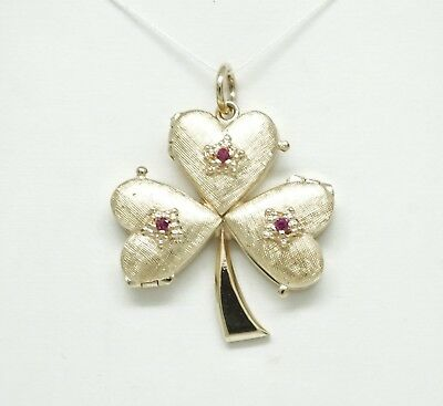 14K Yellow Gold 3 Heart Clover Locket/ Pendant/ Charm With Synthetic Rubies