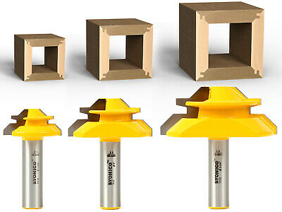 Set of 3 Lock Miter 45 Degree Glue Joint Router Bits - 15334