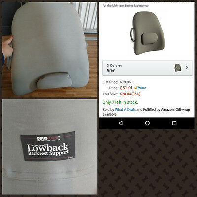 ObusForme by Homedics Lowback Backrest Support Home Office Car Lumbar Spine