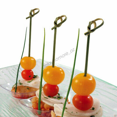 Wedding Event Party 50x Eco Bamboo Curly Catering Picks Dessert Cocktails Skewer