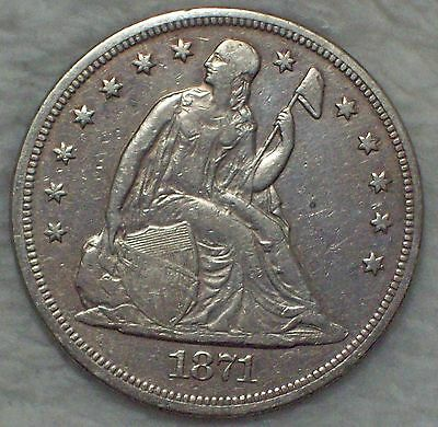 1871 Seated Liberty *SILVER* Dollar VF+ XF Detailing Authentic PRICED TO SELL $1