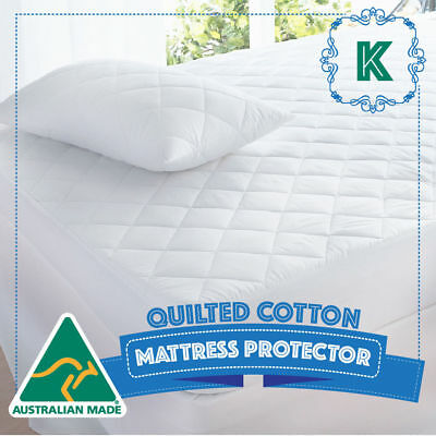 KING Size Bed Cotton Quilted Australian Made Fully Fitted Mattress Protector