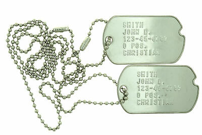 Custom Embossed Notched WWII Style Stainless Steel Military ID Dog Tags