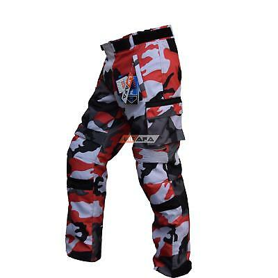 Cordura Motorbike CAMO Pants For Bikers 100% Waterproof CE Approved Pant RED