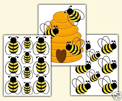 Honey Bumble Bee Hive Wall Decals Baby Girl Nursery Kids Room Stickers Art Decor