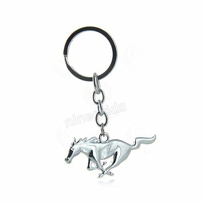 1x Car Metal Horse Emblem Badge Silver Chain Keyring Key Chain for Ford Mustang