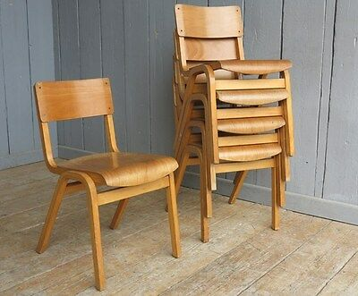 Vintage Wooden Reclaimed Stacking Church Chairs or Chapel Chairs - Industrial