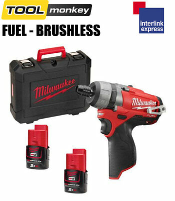 Milwaukee M12CD-202C 12v Fuel Brushless Drill Driver Kit 2x 2.0ah Batteries