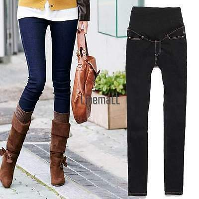 Women Pants Denim Maternity Trousers Adjustable Jeans Pregnant Elastic Skinny LM