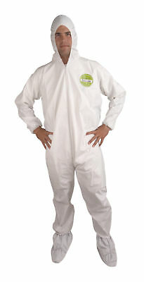 Xl White Microporous Coveralls Hood & Boots Tyvek Alternative Case Of 25 New