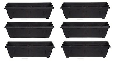 Large 60cm Slim Venetian Window Box Plant Pot Planter Trough Plastic Black Colou