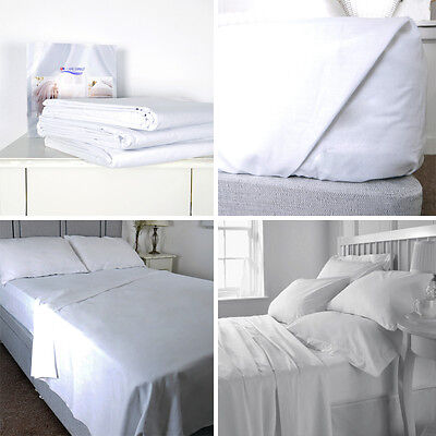 Luxury 100% Cotton Hospital Quality Top / Flat Bed Sheet or Pillow Case Pair