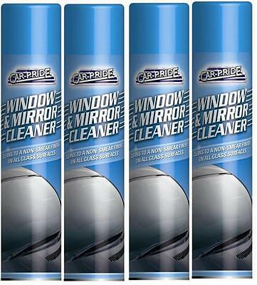 4 X 300ml Glass Window & Mirror Cleaning Cleaner Spray Removes Grime & Insects