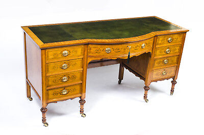 Antique Edwardian Sheraton Revival Satinwood Desk c.1890