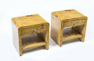 Pair of Art Deco Style Birdseye Maple Bedside Cabinets