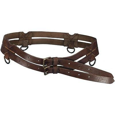 MEDIEVAL KNIGHT CRUSADER RENAISSANCE Brown Black Leather TWIN BELT LARP O/S New