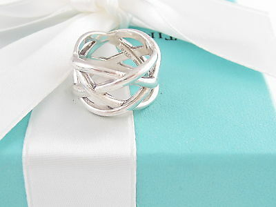Authentic Euc Tiffany & Co Weave Knot Ring Size 7 Box Included
